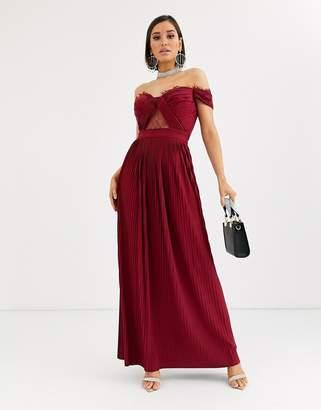 Bardot Asos Design ASOS DESIGN Fuller Bust lace and pleat maxi dress