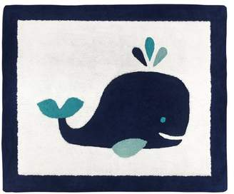 JoJo Designs Sweet Whale Hand-Tufted Cotton Navy Blue/White Area Rug