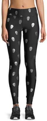 Terez Starry Eyed Skull Foil Tall Band Leggings