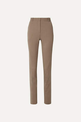 The Row Roosevelt Wool-blend Crepe Skinny Pants - Camel