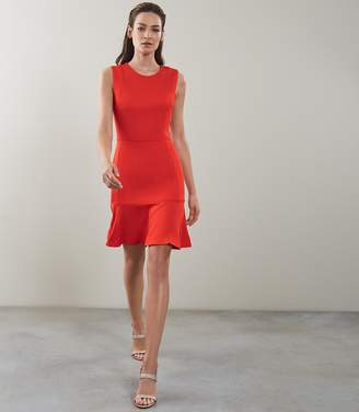 Reiss JACKIE SLEEVELESS FIT AND FLARE DRESS Sunset Orange