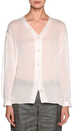 Giorgio Armani Giorgio Armani Sheer V-Neck Button-Front Blouse, White