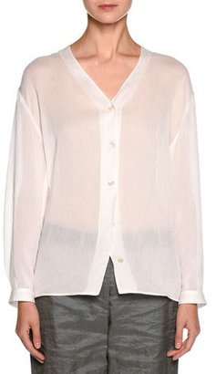 Giorgio Armani Sheer V-Neck Button-Front Blouse, White $1,495 thestylecure.com