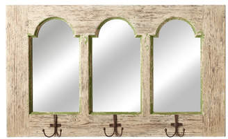 Laurèl Foundry Modern Farmhouse Distressed Arch Beige Mirror with Hooks