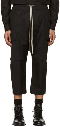 Rick Owens Black Cropped Drawstring Cargo Pants $660 thestylecure.com
