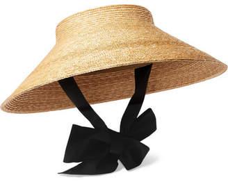 Gucci Grosgrain-trimmed Straw Hat - Beige