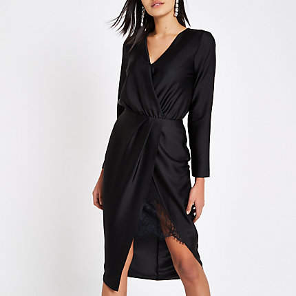 Womens Black wrap front waisted midi dre...
