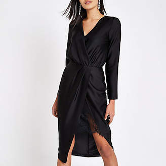 River Island Black wrap front waisted midi dress