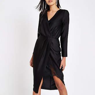 River Island Womens Black wrap front waisted midi dress