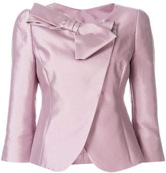 Emporio Armani bow-embellished fitted jacket