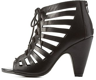 Laser-Cut Caged Lace-Up Heels $30.99 thestylecure.com