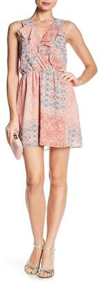 BCBGeneration Surplice Ruffle Print Dress