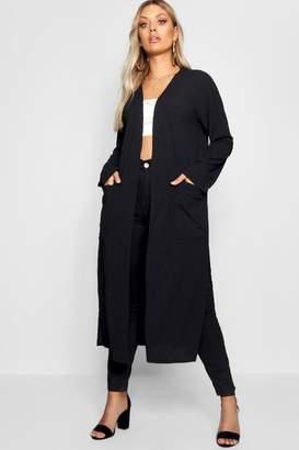 boohoo Plus Rib Pocket Longline Cardigan