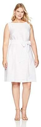 Anne Klein Women's Size Plus Solid Shadow Stripe FIT & Flare Dress