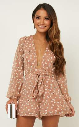 Showpo Wheels Bouncing Playsuit In blush floral - 10 (M) Playsuits &