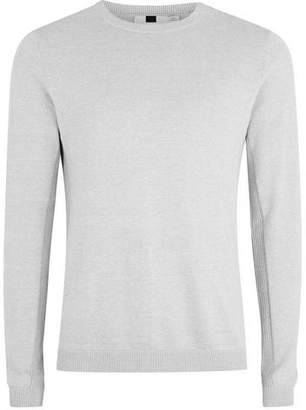 Topman Mens Grey Gray And White Twist Side Ribbed Sweater