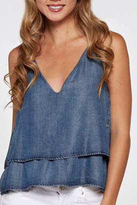 Love Stitch Lovestitch Crop Denim Tank