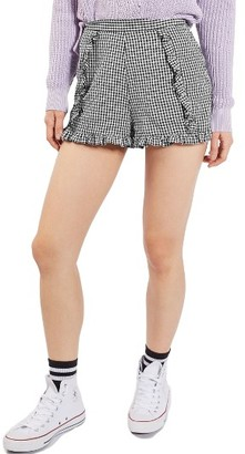 Women's Topshop Ruffle Gingham Crinkle Shorts $55 thestylecure.com