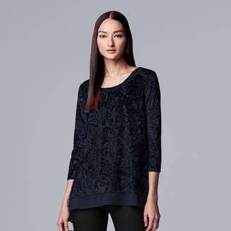 Vera Wang Women's Simply Vera Floral Velvet Crinkle Top