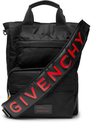 Givenchy Logo-Print Leather-Trimmed Shell And Mesh Bag