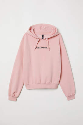 H&M Printed Hooded Sweatshirt - Pink
