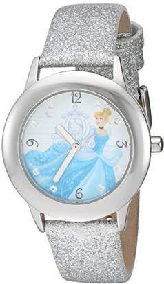 Disney Girl's 'Cinderella' Quartz Stainless Steel and Leather Watch