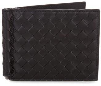 Bottega Veneta Intrecciato Leather Hinge Wallet - Mens - Black