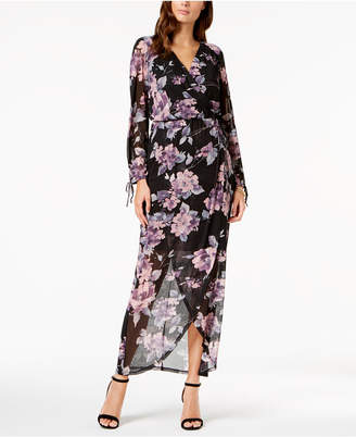 Connected Floral Printed Surplice Maxi Dress