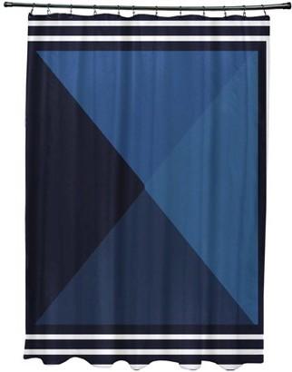"Simply Daisy 71"" x 74"" Nautical Angles Geometric Print Shower Curtain"