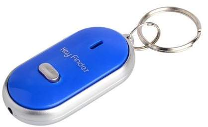 Muzza Inc Premium LED Key Finder Locator Find Lost Keychain Whistle Sound Blue