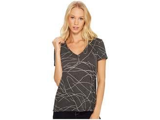 Three Dots Squiggle Burnout Short Sleeve V-Neck Tee Women's T Shirt