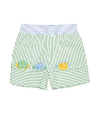 Florence Eiseman Stripe Seersucker Turtle Swim Trunks, Size 6-24 Months
