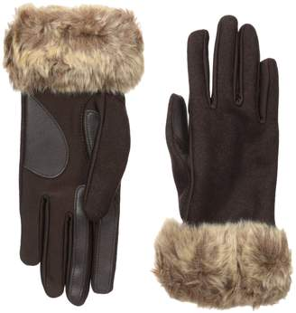 Isotoner Women's Boiled Wool Glove with Long Fur Cuff and Smart Touch Technology