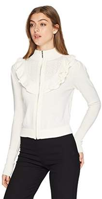 Nanette Lepore Women's Cordelia Ruffle Pointelle Zip from Sweater Cardigan