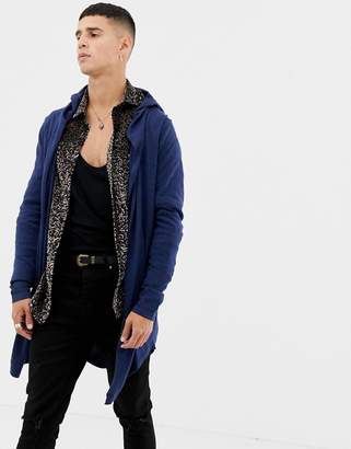 Asos DESIGN Knitted Hooded Cardigan With Curved Hem In Navy