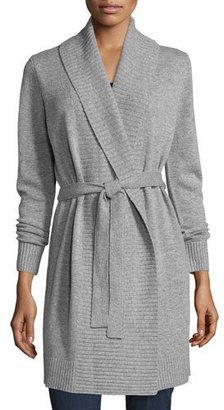 MICHAEL Michael Kors Belted Wool-Blend Shawl Cardigan, Pearl Heather $255 thestylecure.com