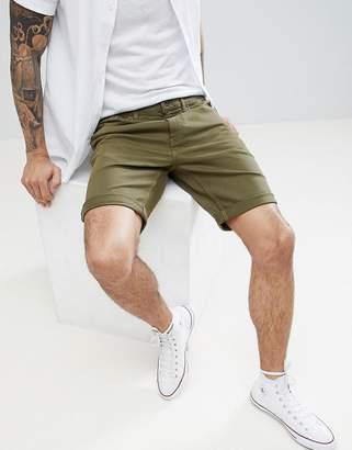Jack Wills Colwyn Slim Denim Five Pocket Shorts in Olive