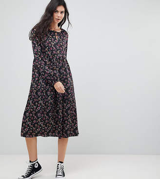 Glamorous Tall Smock Midi Dress In Grunge Floral
