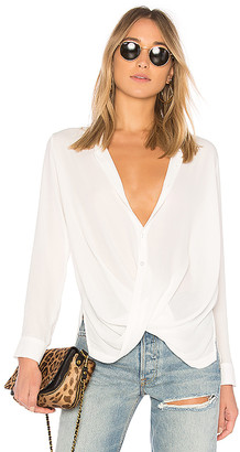 Krisa Surplice Button Blouse