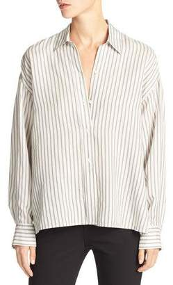 Vince Striped Menswear Cropped Silk Shirt, White