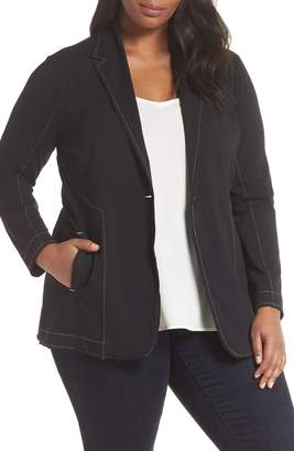 Nic+Zoe Topstitch Detail Single Button Stretch Cotton Blazer
