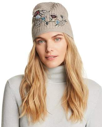 Aqua Floral Embroidered Hat - 100% Exclusive