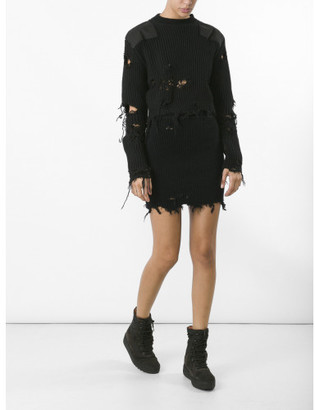 Yeezy destroyed boucle mini skirt $560 thestylecure.com
