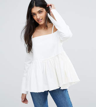 Asos Tall TALL Denim Cold Shoulder Top With Pleated Peplum and Cuff Detail