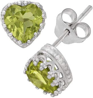 FINE JEWELRY Sterling Silver Genuine Green Peridot Crown Earrings