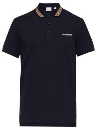 Burberry Icon Stripe Cotton Pique Polo Shirt - Mens - Navy