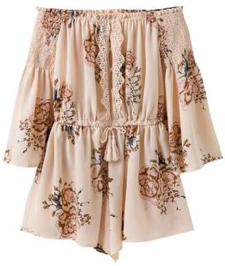 Goodnight Macaroon 'Barrie' Lace Trimmed Floral Off The Shoulder Romper