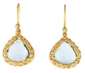 Amrapali 18K Topaz & Diamond Drop Earrings