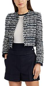 Women's Striped Tweed Crop Jacket - Navy