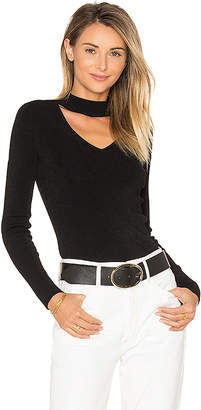 Autumn Cashmere Mock Neck V Sweater in Black $198 thestylecure.com